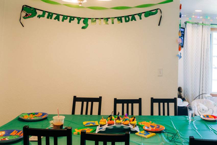 Dinosaur decorations for a party