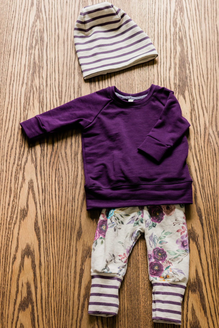 Plum raglan, oatmeal floral pants, plum oatmeal striped beanie